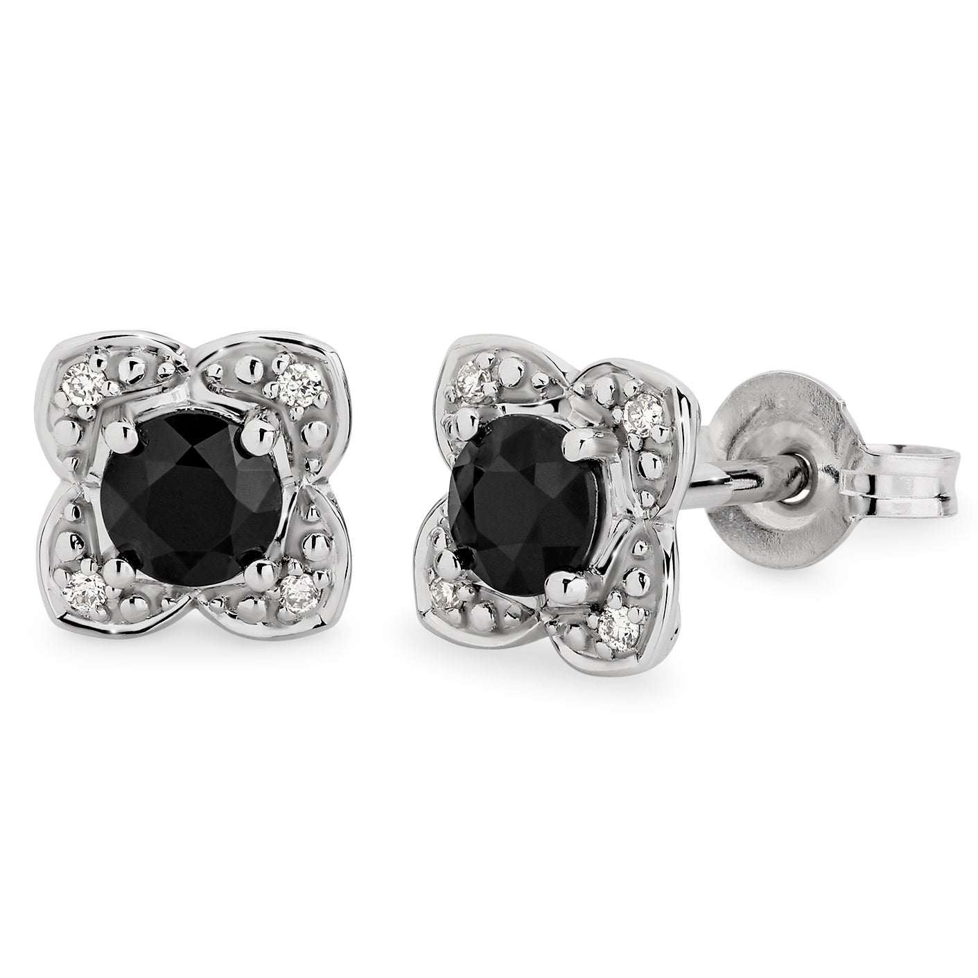 SAPPHIRE (D GRADE) & DIAMOND (SI3 JK) CLAW SET STUD EARRING IN 9CT WHITE GOLD TDW 0.44CT