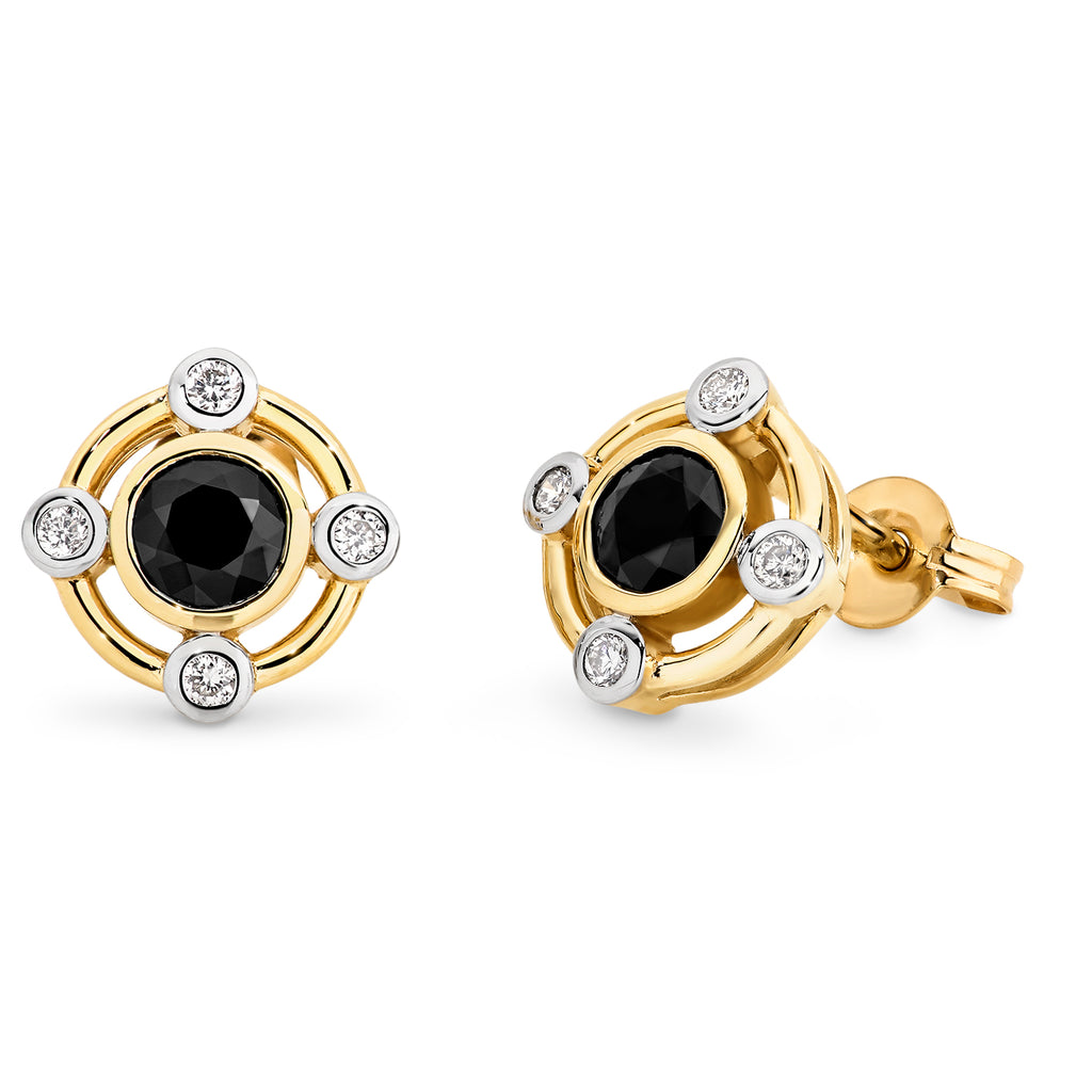 SAPPHIRE (D GRADE) & DIAMOND (SI3 JK) CLAW SET STUD EARRING IN 9CT YELLOW GOLD TDW 0.78CT