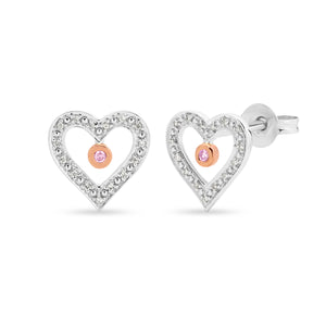 DIAMOND BEZEL/BEAD SET EARRING PINK CAVIAR IN 9CT WHITE & ROSE GOLD TDW 0.08CT