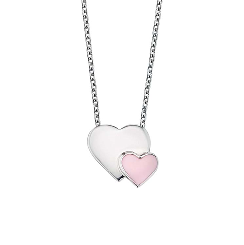 #9 PINK & SILVER HEARTS NECKLACE 38+2CM