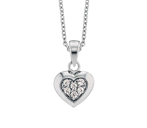 PAVE CZ HEART STUD NECKLACE 38+2CM