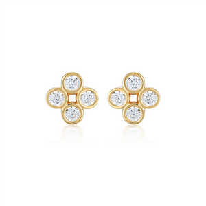 GEORGINI STELLAR LIGHTS WHITE CZ GOLD 20MILS EARRING
