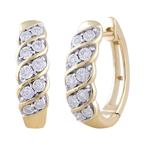 9CT YLW GOLD 0.15CT DIAMOND EARRINGS