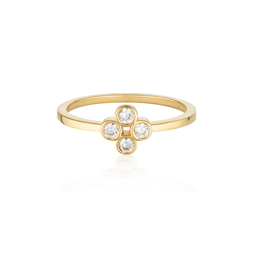 GEORGINI STELLAR LIGHTS WHITE CZ GOLD 40MILS RING #7