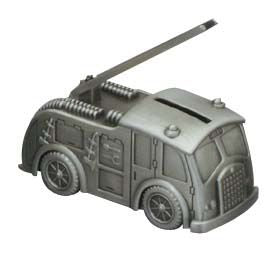 PEWTER FIRE ENGINE BANK