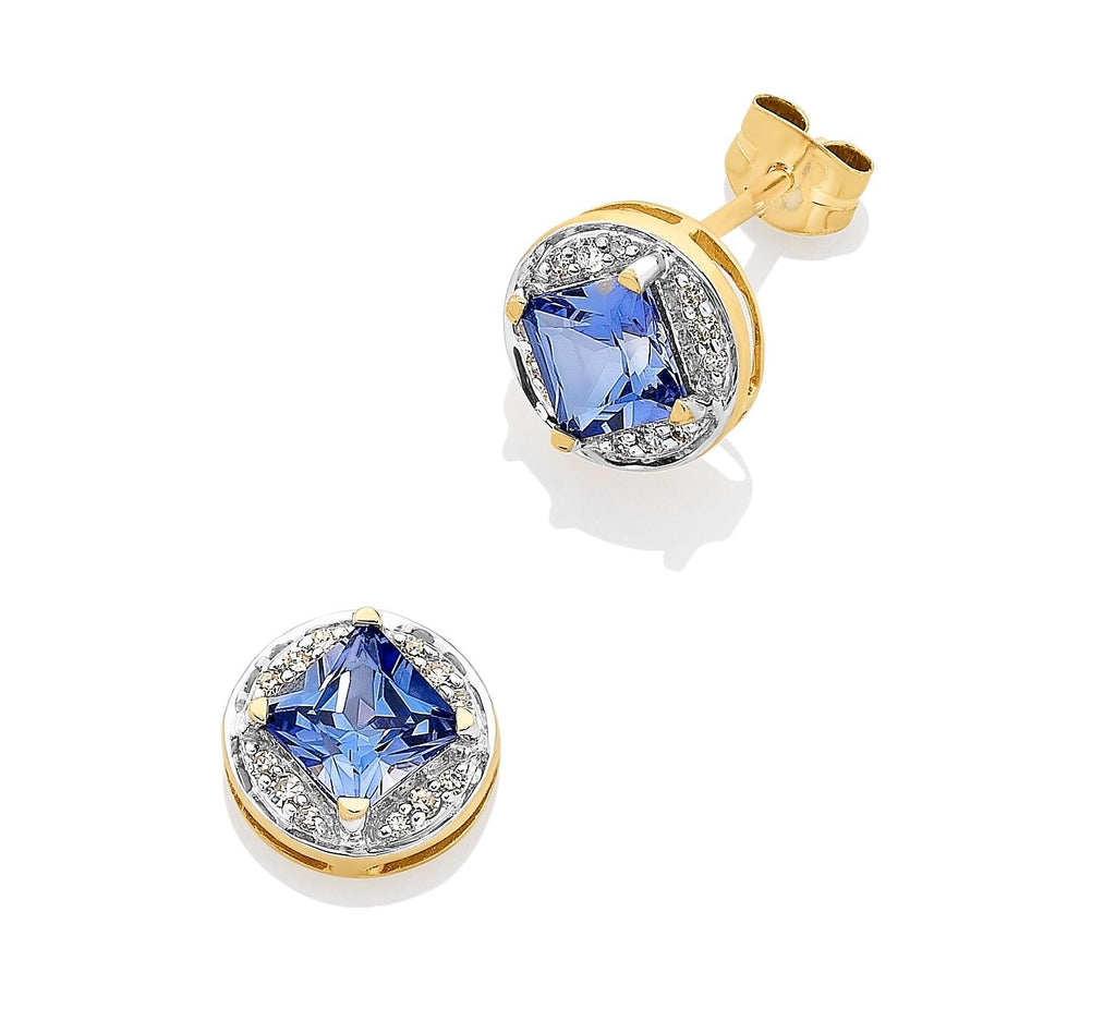 9CT Y/G DIAMOND & CREATED SAPPHIRE EARRINGS