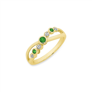 9CT YG NATURAL EM & DIAMOND RING