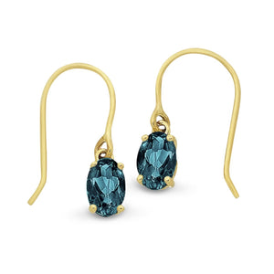 9CT YG LONDON BLUE BT EARRINGS
