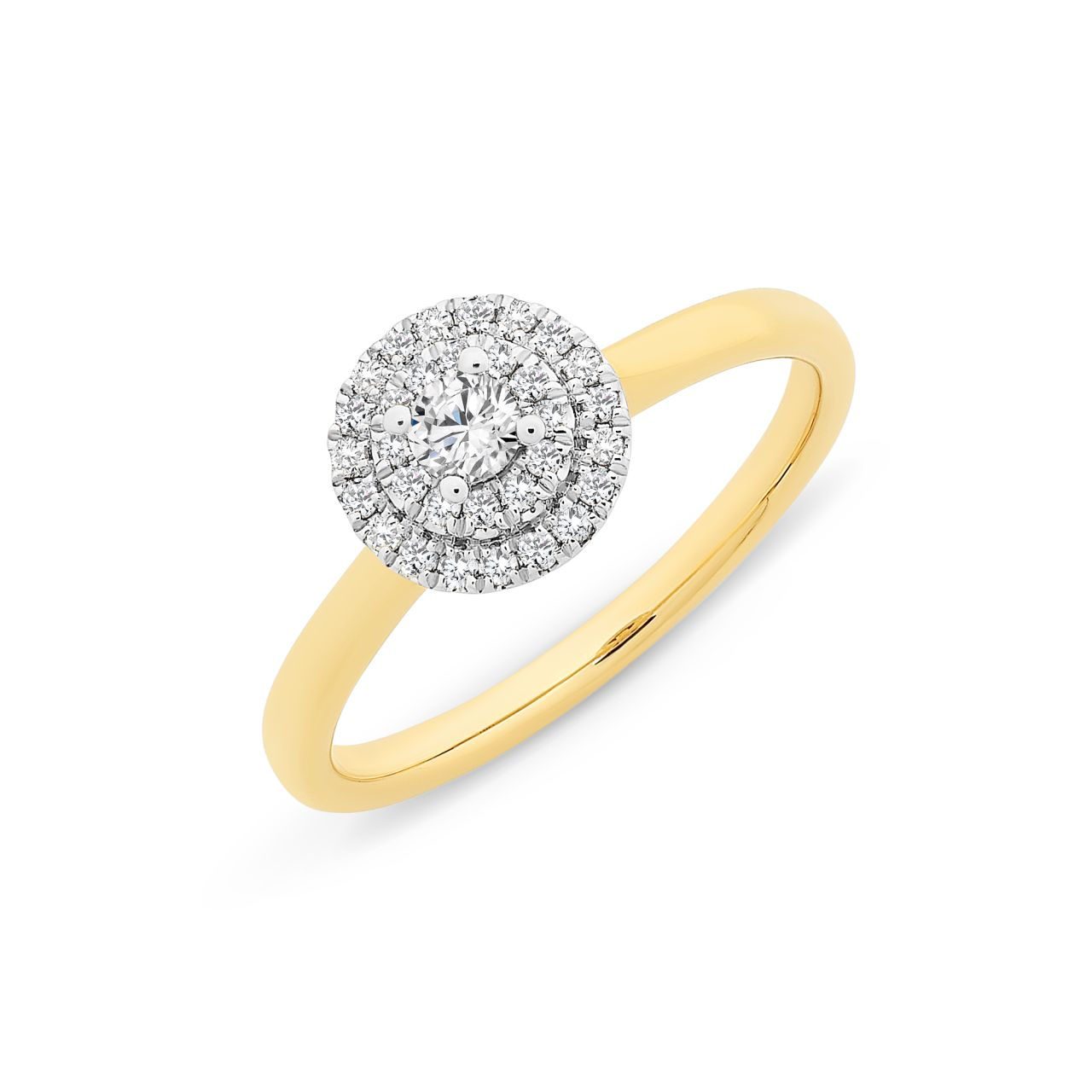 9CT YW 0.28CT DIAMOND RING