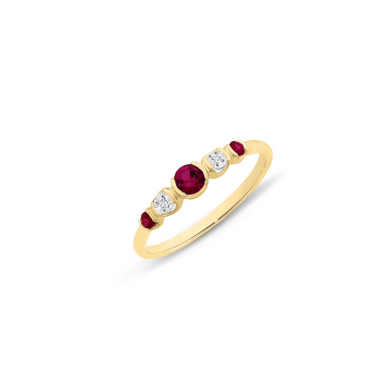 9CT YG CR RUBY & DIAMOND RING