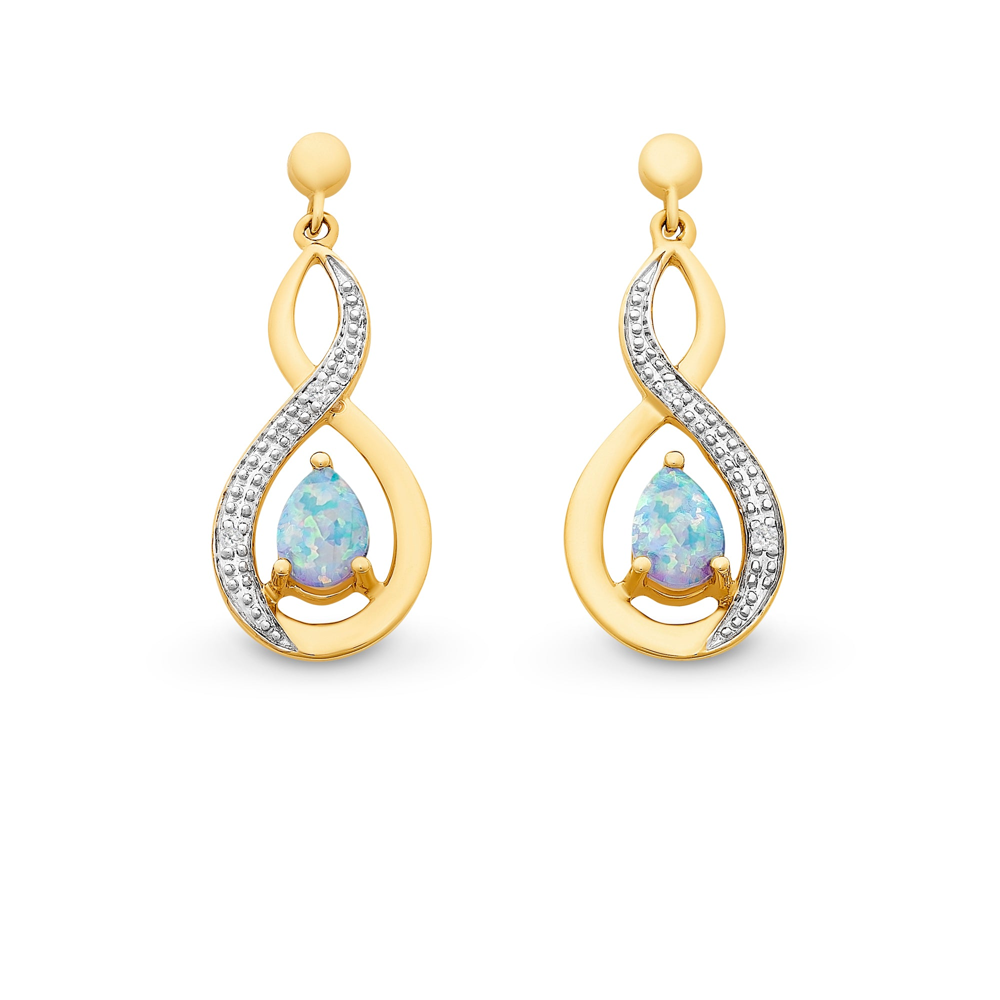 9CT YG CR OPAL & DIAMOND EARS
