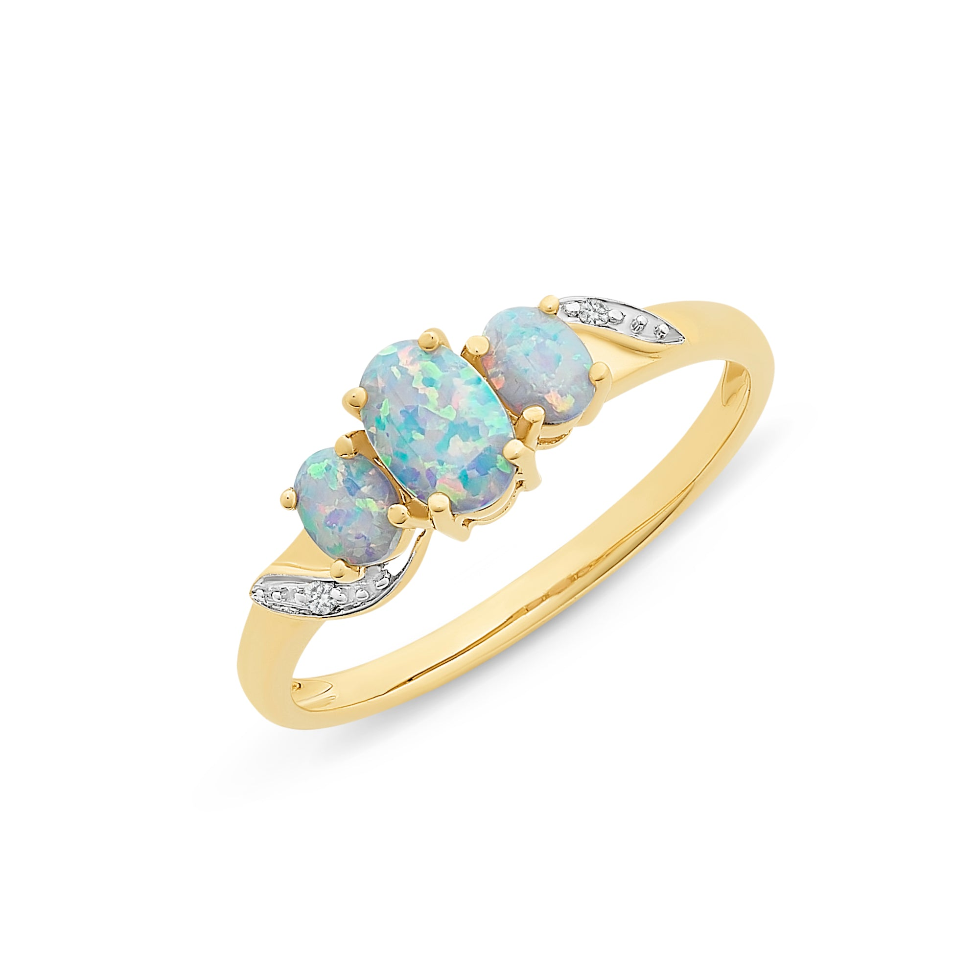 9CT YG CR OPAL & DIAMOND RING