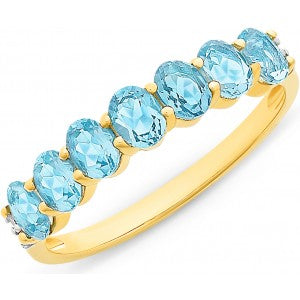 9CT Y/G BLUE TOPAZ & DIAMOND RING