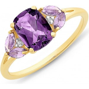 9CT Y/G AMETHYST AND DIAMOND RING