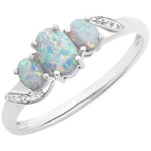 9CT W/G CREATED OPAL & DIAMOND RING