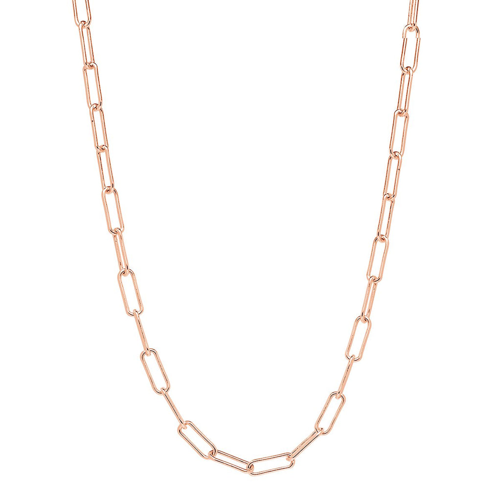 5X14MM ROSE GOLD (14K 3 MICRON) PLATED SILVER RECTANGULAR LINK CHAIN, 45CM, ANTITARNISH