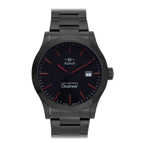 OCEANEER 100M BLK CASE AND DIAL RED INDEX BRACELET