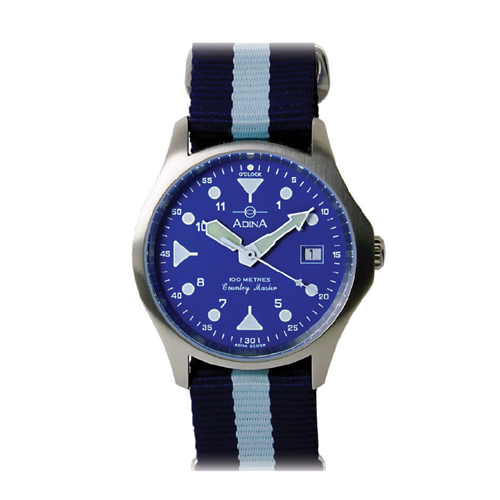 GENTS 100M COUNTRY MASTER S/S BLUE INDEX NATO STRAP