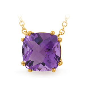 AMETHYST CLAW SET COLOURED STONE PENDANT IN 9CT YELLOW GOLD TDW N/A