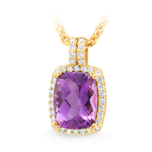 AMETHYST & DIAMOND (SI3 JK) CLAW/BEAD SET COLOURED STONE PENDANT IN 9CT YELLOW GOLD TDW 0.18CT