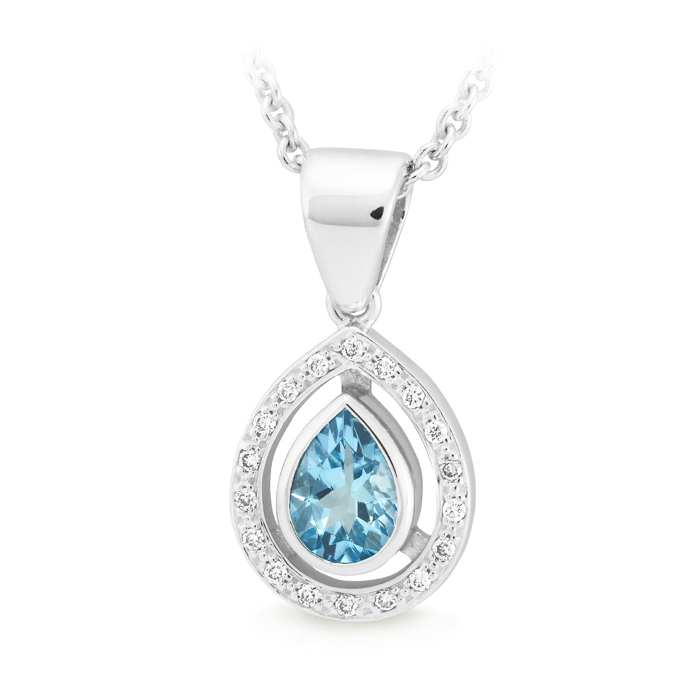 AQUAMARINE (B GRADE) & DIAMOND (SI3 JK) BEZEL/BEAD SET COLOURED STONE PENDANT IN 9CT WHITE GOLD TDW 0.09CT