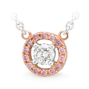 DIAMOND CLAW/BEAD SET PENDANT PINK CAVIAR IN 9CT ROSE GOLD (SI3 JK)  TDW 0.39CT