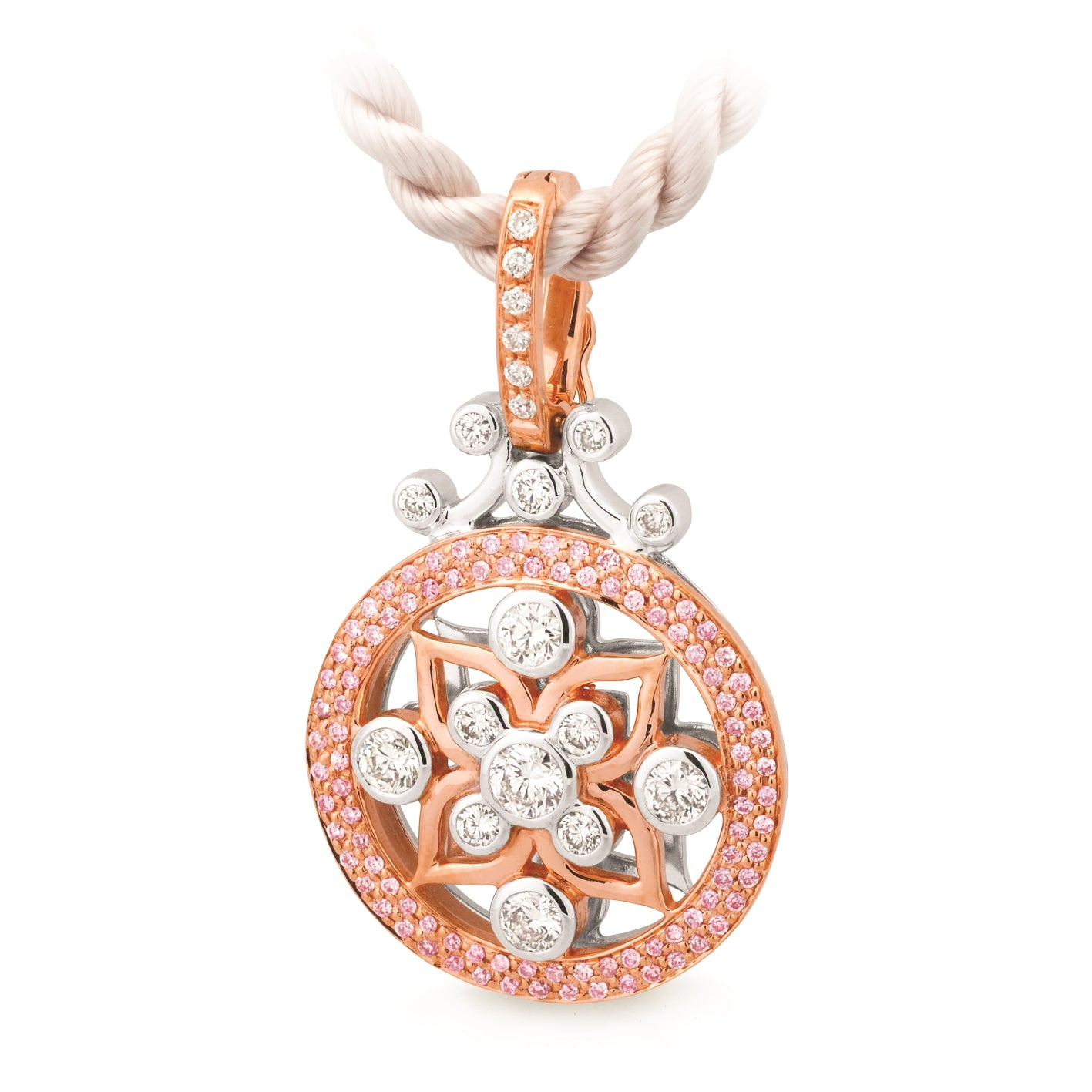 DIAMOND BEZEL/BAR SET PENDANT PINK CAVIAR IN 9CT ROSE & WHITE GOLD (SI3 JK)  TDW 0.60CT