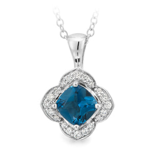 LONDON BLUE TOPAZ & DIAMOND (SI3 JK) CLAW/BEAD SET COLOURED STONE PENDANT IN 9CT WHITE GOLD TDW 0.13CT