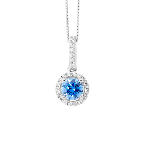 S/S 6MM ROUND FANCY BLUE CZ DROP PENDANT W/ WH CZ SURROUND