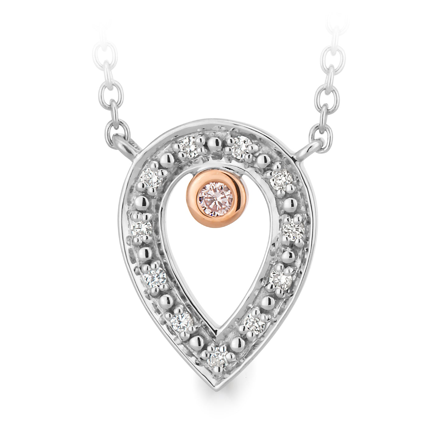 DIAMOND BEZEL/BEAD SET PENDANT PINK CAVIAR IN 9CT WHITE & ROSE GOLD TDW 0.037CT
