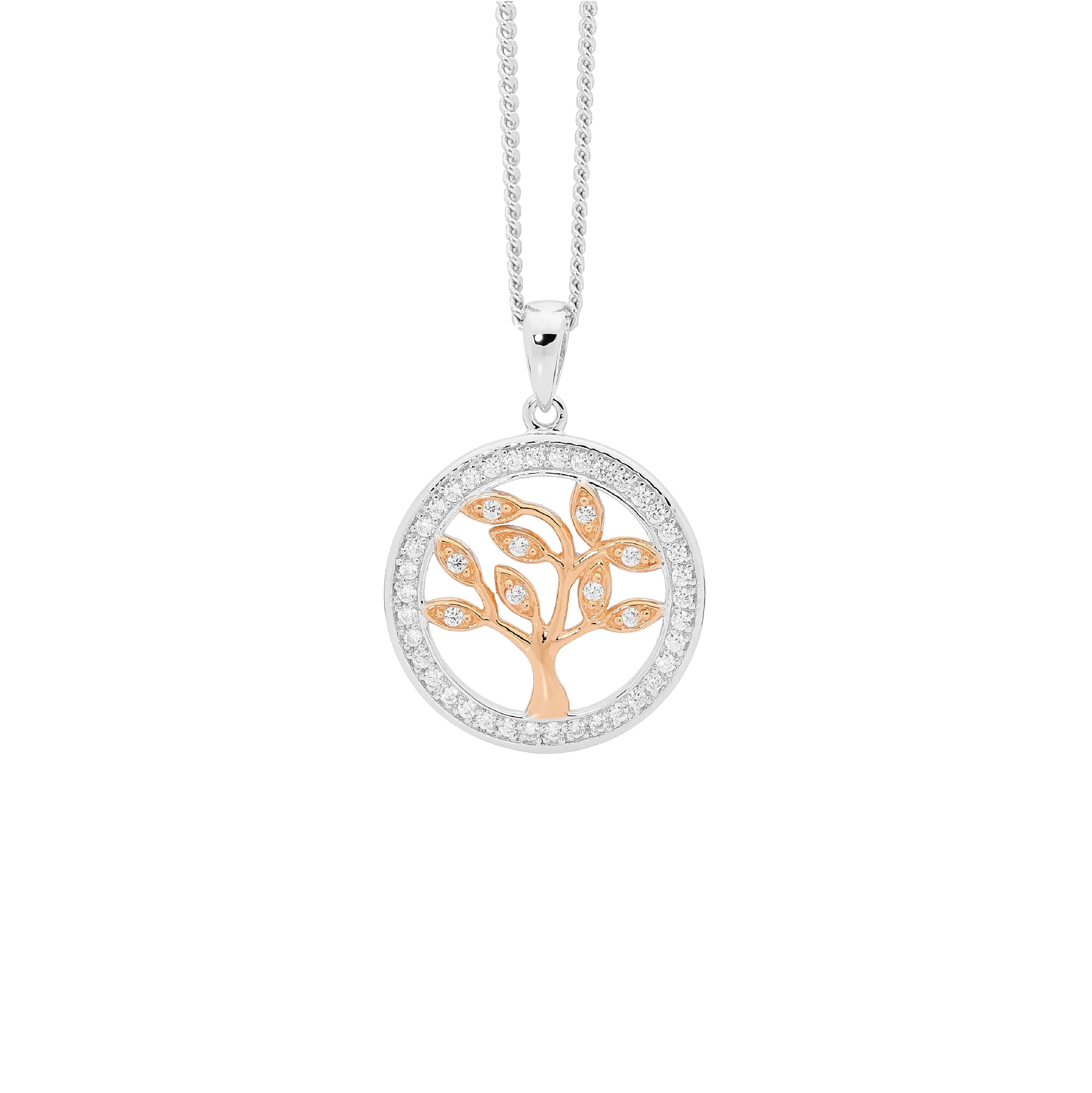 S/S WH CZ SML TREE OF LIFE PENDANT W/ CZ SURROUND, RG PLATING