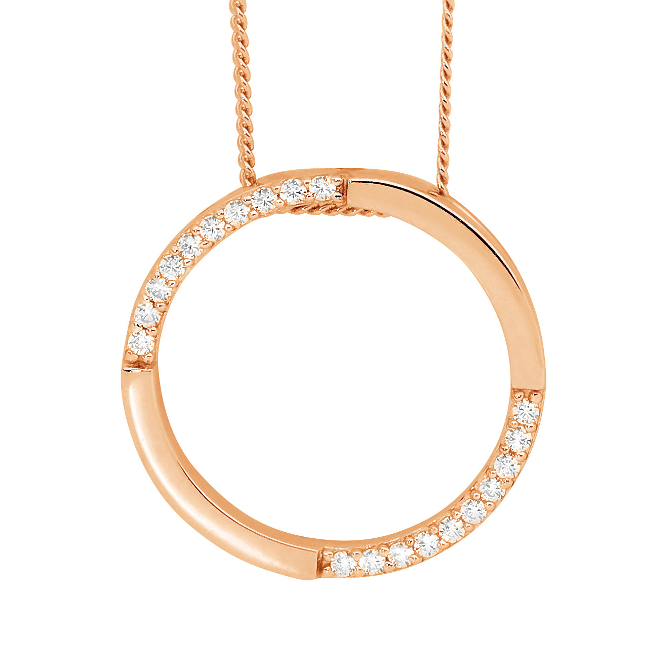 S/S WH CZ 20MM OPEN CIRCLE PENDANT W/ RG PLATING -