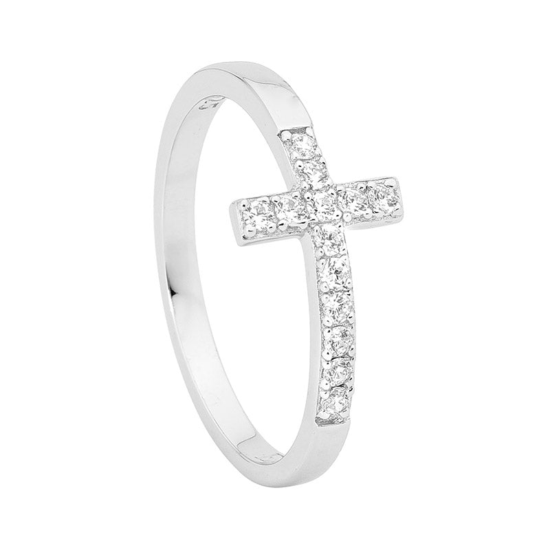 S/S WH CZ CROSS RING - RRP $79 - S7