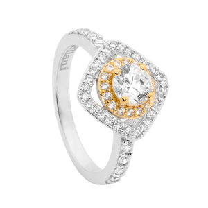 S/S CZ SOLITAIRE DBL ROUND/SQUARE HALO RING GOLD PLATING