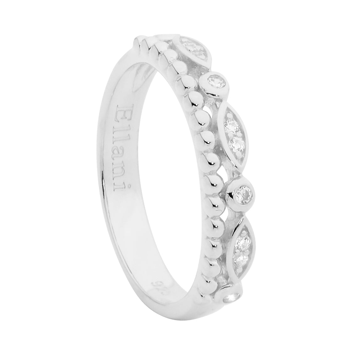 S/S DOUBLE ROW RING, WH CZ & BUBBLE BAND - RRP $79