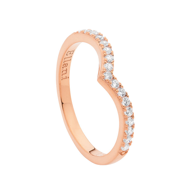 S/S WH CZ V RING W/ RG PLATING - RRP $79