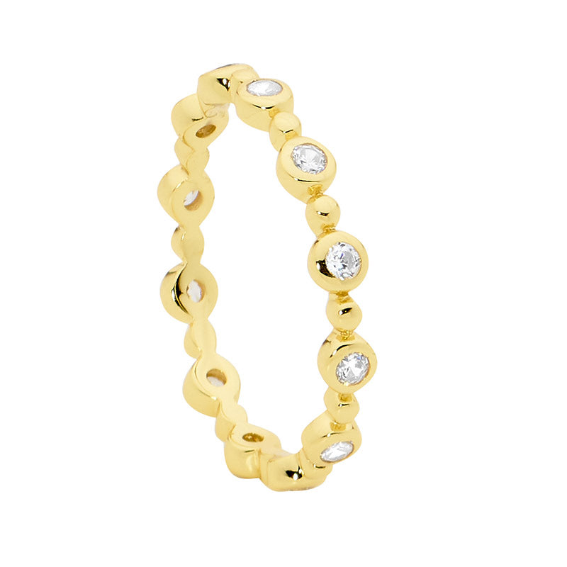 S/S WH CZ BEZEL SET & BUBBLE STACKER RING W/ GOLD PLATING - RRP $79