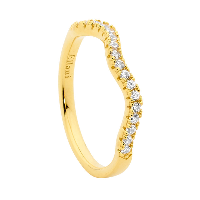 S/S WH CZ WAVE STACKER RING W/ GOLD PLATING - RRP $89
