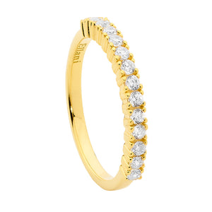 S/S SINGLE ROW WHITE CZ RING W/ GOLD PLATING - RRP $89