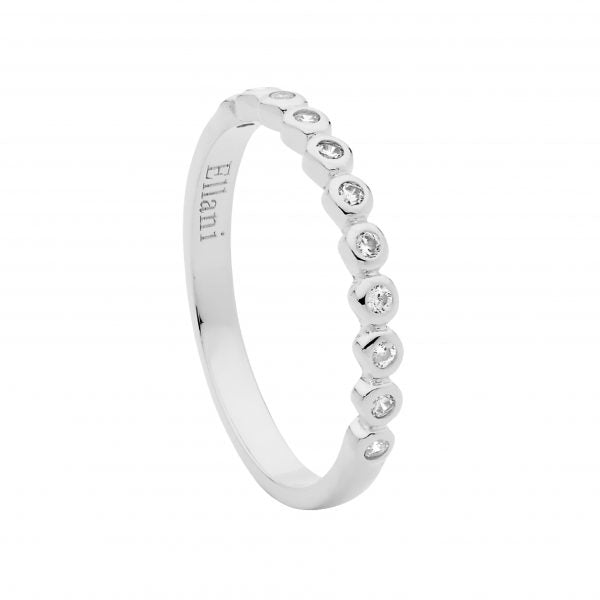 S/S WH CZ BEZEL SET RING