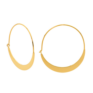 STAINLESS STEEL 33MM FLAT HOOP EARRINGS W/ GOLD IP PLATING - RRP $39