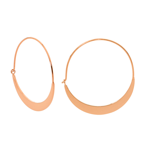 STAINLESS STEEL 33MM FLAT HOOP EARRINGS W/ RG IP PLATING - RRP $39