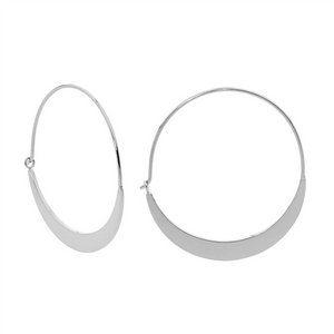 STAINLESS STEEL 33MM FLAT HOOP EARRINGS -