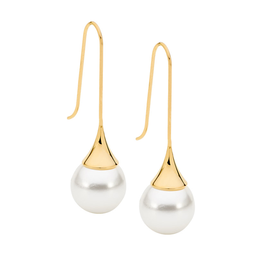 STAINLESS STEEL LONG DROP EARRINGS W/ SHELL PEARL & GOLD IP PLATING