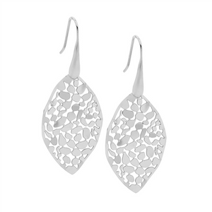 STAINLESS STEEL 35MM LEAF EARRINGS SHP/HOOK