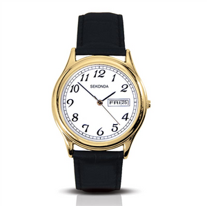 GOLD COLOUR DATE BLACK LEATHER 30M
