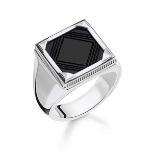 #8A REBEL SQUARE ONYX GRAPHIC CUT RING