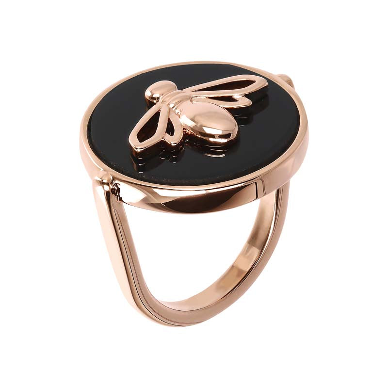 #9A BEE ON BLACK ONYX ROUND 18MM RING
