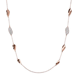#9A SCATTERED LEAF CZ NECKLACE 91.4CM