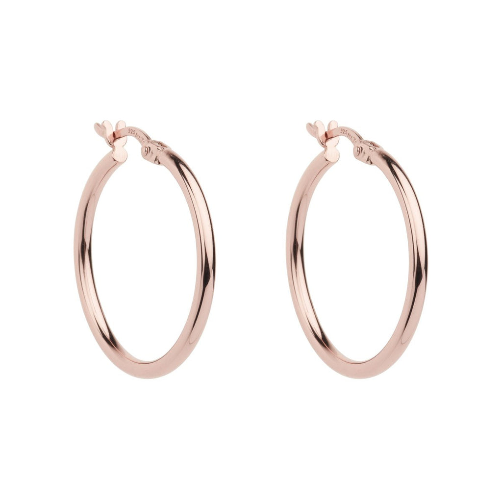 2X25MM ROSE GOLD (14K 1MC) PLATED SILVER HOOP WITH LEVER CLASP, ANTITARNISH